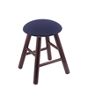 Oak Round Cushion Vanity Stool with Smooth Legs, Dark Cherry Finish, Axis Denim Seat, and 360 Swivel
