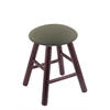 Holland Bar Stool Co. Oak Round Cushion Vanity Stool with Smooth Legs, Dark Cherry Finish, Axis Grove Seat, and 360 Swivel