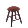 Holland Bar Stool Co. Oak Round Cushion Vanity Stool with Smooth Legs, Dark Cherry Finish, Axis Paprika Seat, and 360 Swivel