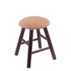 Oak Round Cushion Vanity Stool with Smooth Legs, Dark Cherry Finish, Axis Summer Seat, and 360 Swivel