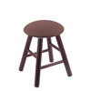 Oak Round Cushion Vanity Stool with Smooth Legs, Dark Cherry Finish, Axis Willow Seat, and 360 Swivel