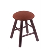 Oak Round Cushion Vanity Stool with Smooth Legs, Dark Cherry Finish, Rein Adobe Seat, and 360 Swivel