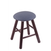Oak Round Cushion Vanity Stool with Smooth Legs, Dark Cherry Finish, Rein Bay Seat, and 360 Swivel