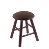 Oak Round Cushion Vanity Stool with Smooth Legs, Dark Cherry Finish, Rein Coffee Seat, and 360 Swivel