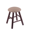 Oak Round Cushion Vanity Stool with Smooth Legs, Dark Cherry Finish, Rein Thatch Seat, and 360 Swivel