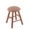 Oak Round Cushion Vanity Stool with Smooth Legs, Medium Finish, Allante Beechwood Seat, and 360 Swivel