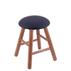Oak Round Cushion Vanity Stool with Smooth Legs, Medium Finish, Allante Dark Blue Seat, and 360 Swivel