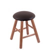 Oak Round Cushion Vanity Stool with Smooth Legs, Medium Finish, Allante Espresso Seat, and 360 Swivel