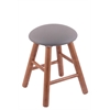 Oak Round Cushion Vanity Stool with Smooth Legs, Medium Finish, Allante Medium Grey Seat, and 360 Swivel