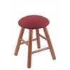 Holland Bar Stool Co. Oak Round Cushion Vanity Stool with Smooth Legs, Medium Finish, Allante Wine Seat, and 360 Swivel
