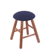 Holland Bar Stool Co. Oak Round Cushion Vanity Stool with Smooth Legs, Medium Finish, Axis Denim Seat, and 360 Swivel