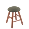 Holland Bar Stool Co. Oak Round Cushion Vanity Stool with Smooth Legs, Medium Finish, Axis Grove Seat, and 360 Swivel