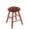 Oak Round Cushion Vanity Stool with Smooth Legs, Medium Finish, Axis Paprika Seat, and 360 Swivel