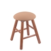Oak Round Cushion Vanity Stool with Smooth Legs, Medium Finish, Axis Summer Seat, and 360 Swivel