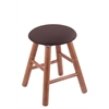 Oak Round Cushion Vanity Stool with Smooth Legs, Medium Finish, Axis Truffle Seat, and 360 Swivel
