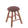 Holland Bar Stool Co. Oak Round Cushion Vanity Stool with Smooth Legs, Medium Finish, Axis Willow Seat, and 360 Swivel