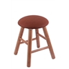 Oak Round Cushion Vanity Stool with Smooth Legs, Medium Finish, Rein Adobe Seat, and 360 Swivel