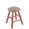 Oak Round Cushion Vanity Stool with Smooth Legs, Medium Finish, Rein Thatch Seat, and 360 Swivel
