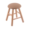 Oak Round Cushion Vanity Stool with Smooth Legs, Natural Finish, Allante Beechwood Seat, and 360 Swivel