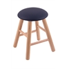 Oak Round Cushion Vanity Stool with Smooth Legs, Natural Finish, Allante Dark Blue Seat, and 360 Swivel