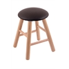 Oak Round Cushion Vanity Stool with Smooth Legs, Natural Finish, Allante Espresso Seat, and 360 Swivel