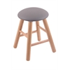 Oak Round Cushion Vanity Stool with Smooth Legs, Natural Finish, Allante Medium Grey Seat, and 360 Swivel