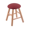 Oak Round Cushion Vanity Stool with Smooth Legs, Natural Finish, Allante Wine Seat, and 360 Swivel