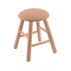 Oak Round Cushion Vanity Stool with Smooth Legs, Natural Finish, Axis Summer Seat, and 360 Swivel