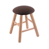Oak Round Cushion Vanity Stool with Smooth Legs, Natural Finish, Rein Coffee Seat, and 360 Swivel