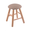 Oak Round Cushion Vanity Stool with Smooth Legs, Natural Finish, Rein Thatch Seat, and 360 Swivel