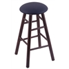 Maple Round Cushion Counter Stool with Smooth Legs, Dark Cherry Finish, Allante Dark Blue Seat, and 360 Swivel
