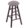 Maple Round Cushion Bar Stool with Smooth Legs, Dark Cherry Finish, Allante Medium Grey Seat, and 360 Swivel