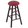 Maple Round Cushion Counter Stool with Smooth Legs, Dark Cherry Finish, Allante Wine Seat, and 360 Swivel