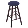 Maple Round Cushion Bar Stool with Smooth Legs, Dark Cherry Finish, Axis Denim Seat, and 360 Swivel