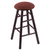 Maple Round Cushion Bar Stool with Smooth Legs, Dark Cherry Finish, Axis Paprika Seat, and 360 Swivel