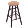 Holland Bar Stool Co. Maple Round Cushion Counter Stool with Smooth Legs, Dark Cherry Finish, Axis Summer Seat, and 360 Swivel