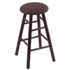 Maple Round Cushion Counter Stool with Smooth Legs, Dark Cherry Finish, Axis Truffle Seat, and 360 Swivel