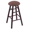 Holland Bar Stool Co. Maple Round Cushion Bar Stool with Smooth Legs, Dark Cherry Finish, Axis Willow Seat, and 360 Swivel