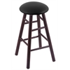 Maple Round Cushion Counter Stool with Smooth Legs, Dark Cherry Finish, Black Vinyl Seat, and 360 Swivel