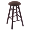 Holland Bar Stool Co. Maple Round Cushion Bar Stool with Smooth Legs, Dark Cherry Finish, Rein Coffee Seat, and 360 Swivel
