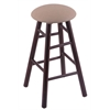 Holland Bar Stool Co. Maple Round Cushion Bar Stool with Smooth Legs, Dark Cherry Finish, Rein Thatch Seat, and 360 Swivel