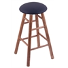 Maple Round Cushion Bar Stool with Smooth Legs, Medium Finish, Allante Dark Blue Seat, and 360 Swivel