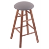 Maple Round Cushion Bar Stool with Smooth Legs, Medium Finish, Allante Medium Grey Seat, and 360 Swivel