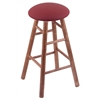 Maple Round Cushion Bar Stool with Smooth Legs, Medium Finish, Allante Wine Seat, and 360 Swivel