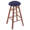 Maple Round Cushion Extra Tall Bar Stool with Smooth Legs, Medium Finish, Axis Denim Seat, and 360 Swivel