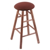 Maple Round Cushion Bar Stool with Smooth Legs, Medium Finish, Axis Paprika Seat, and 360 Swivel