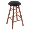 Maple Round Cushion Counter Stool with Smooth Legs, Medium Finish, Black Vinyl Seat, and 360 Swivel