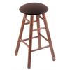 Holland Bar Stool Co. Maple Round Cushion Bar Stool with Smooth Legs, Medium Finish, Rein Coffee Seat, and 360 Swivel