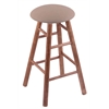 Maple Round Cushion Extra Tall Bar Stool with Smooth Legs, Medium Finish, Rein Thatch Seat, and 360 Swivel