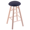 Holland Bar Stool Co. Maple Round Cushion Counter Stool with Smooth Legs, Natural Finish, Allante Dark Blue Seat, and 360 Swivel